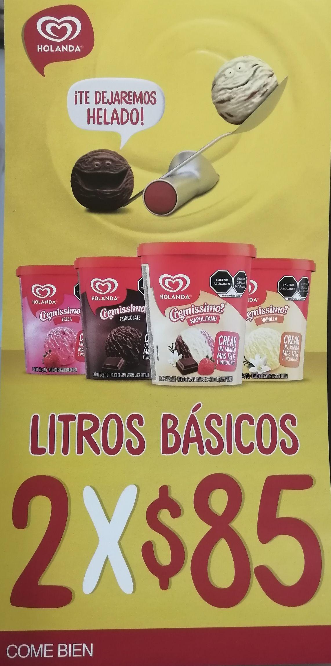 Farmacias Guadalajara: Helado holanda 2 lts x $85 (sabores básicos)