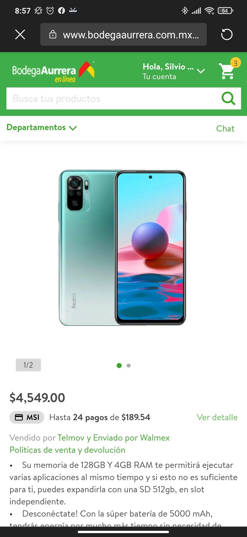 Bodega Aurrerá: Xiaomi Redmi note 10 128 gb