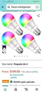 Amazon: 4 Focos smart colores regulable Fosmart