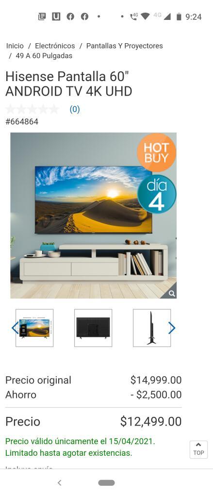 Costco Pantalla Hisense 60 pulgadas Android Tv 4K UHD