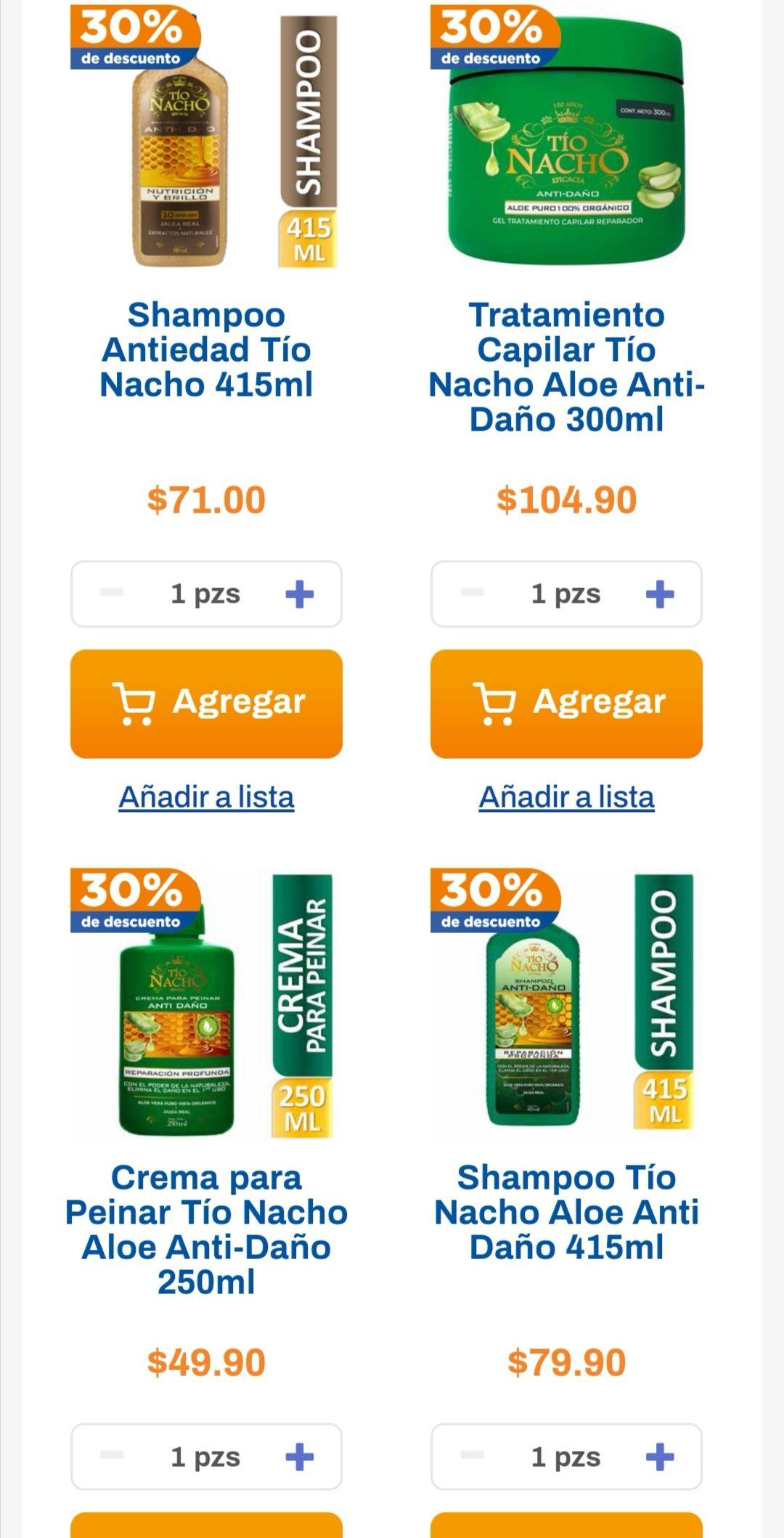 Chedraui: 30% de descuento en shampoos y acondicionadores Tío Nacho, Vanart y Fermodyl