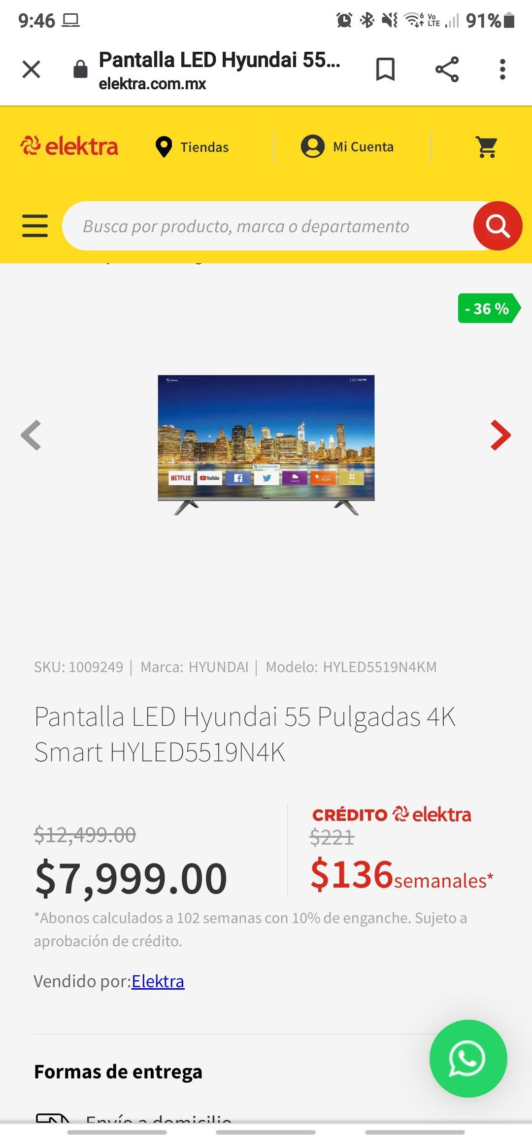"Elektra pantalla Led Hyundai 55"" 4K smart"