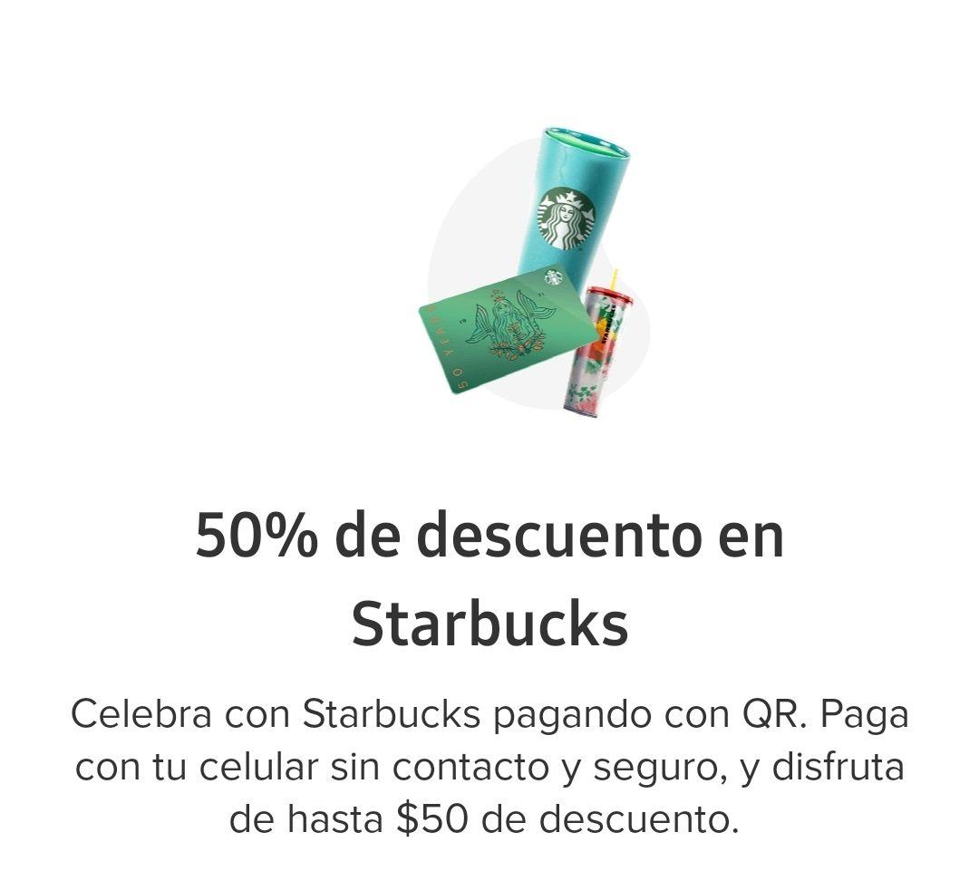 Starbucks : 50% OFF, Pagando QR Mercado Pago