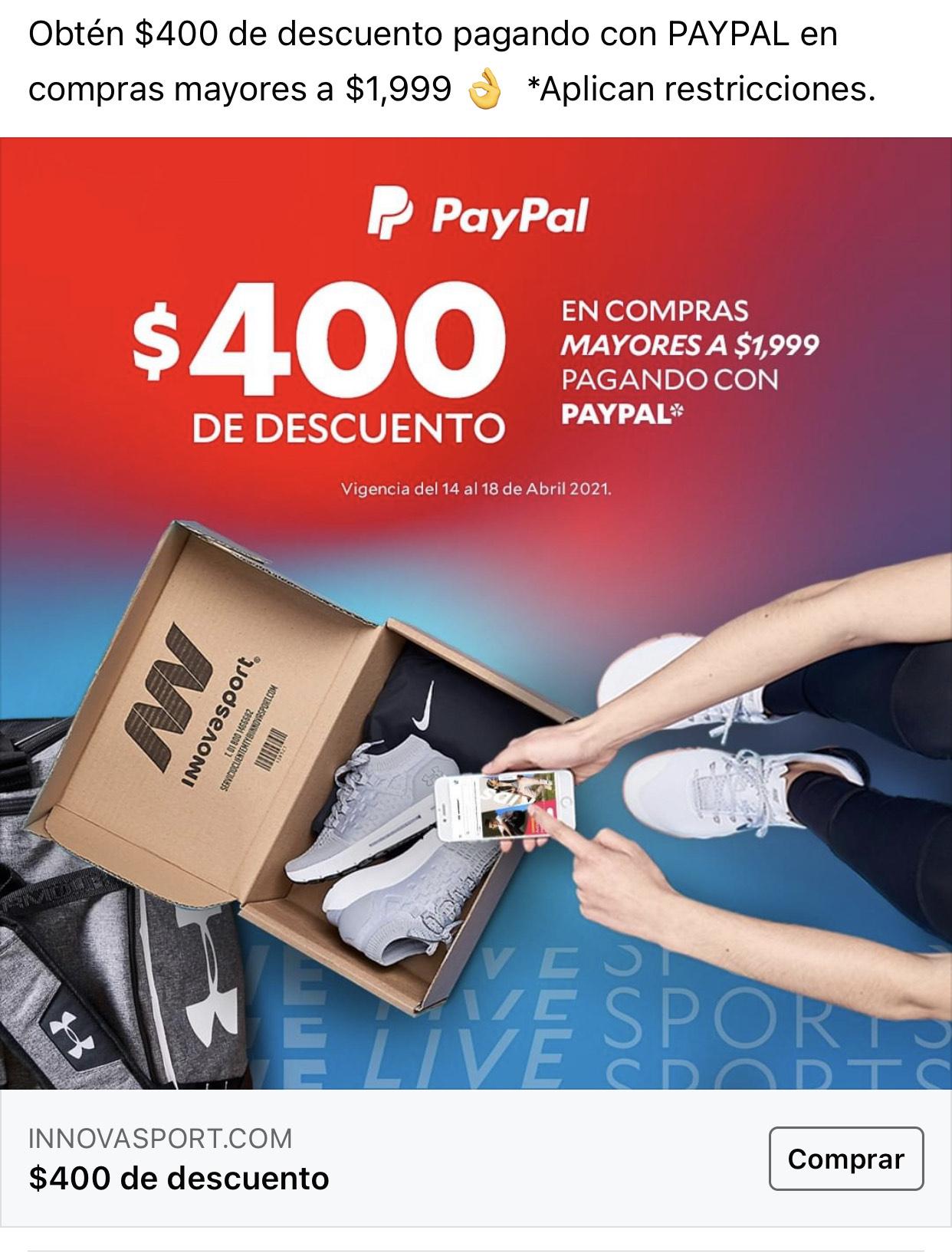Innovasport: $400 OFF en compras mayores a $1,999 con PayPal
