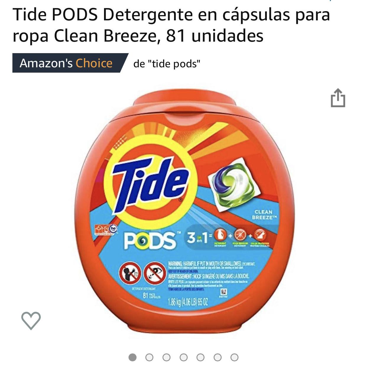 Amazon: Tide pods detergente en capsulas
