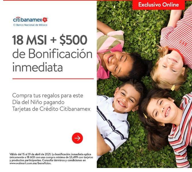 Walmart 500 bonificación inmediata Banamex, compra mínima $3,499