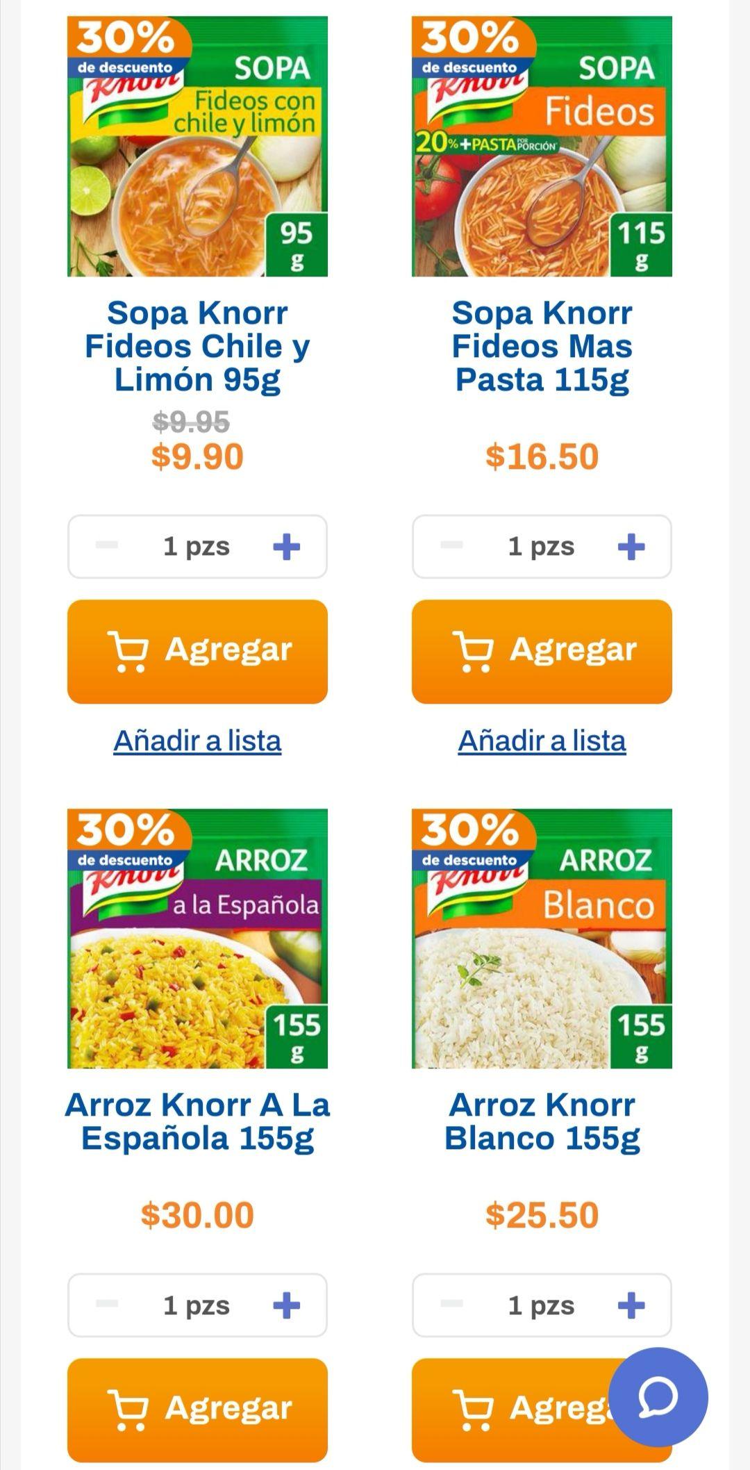 Chedraui: 30% de descuento en sopas Knorr