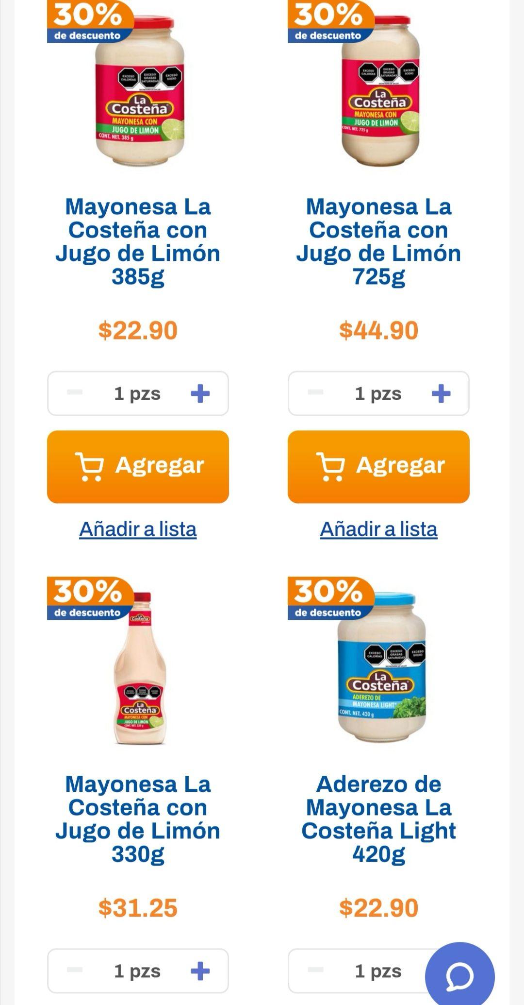 Chedraui: 30% de descuento en mayonesas La Costeña