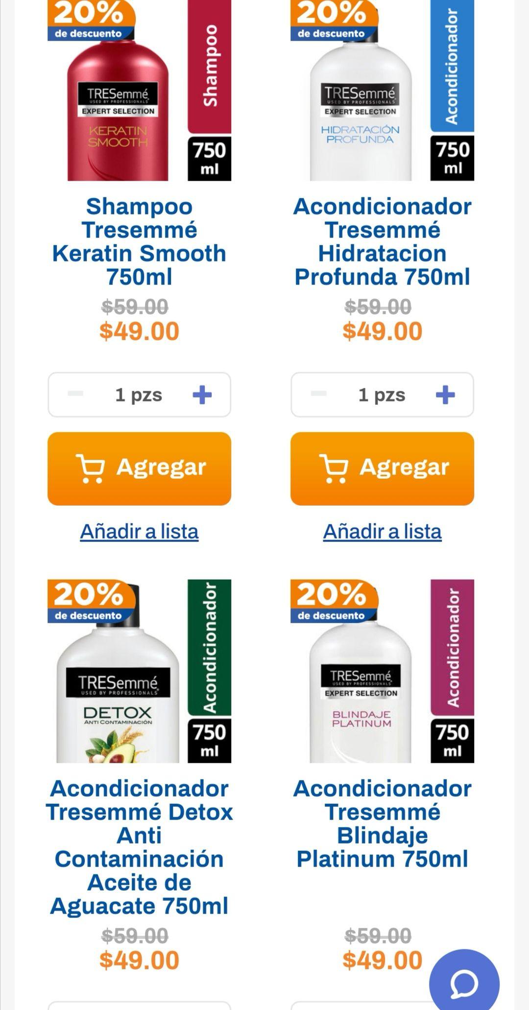 Chedraui: 20% de descuento en shampoos y acondicionadores Tresemmé