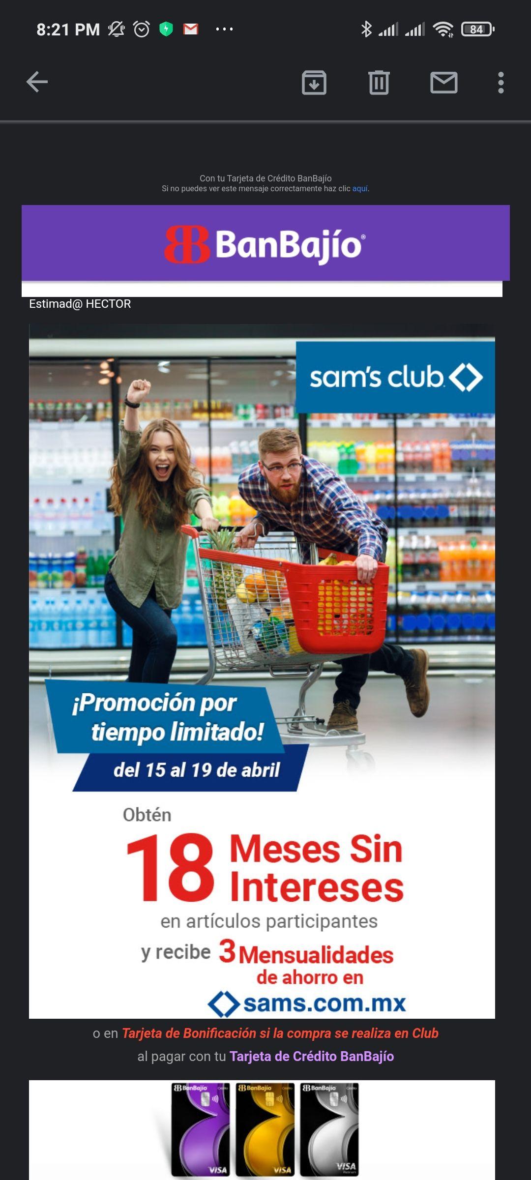 Sam's Club: BanBajío y otros bancos: 3 meses de bonificación o tarjeta