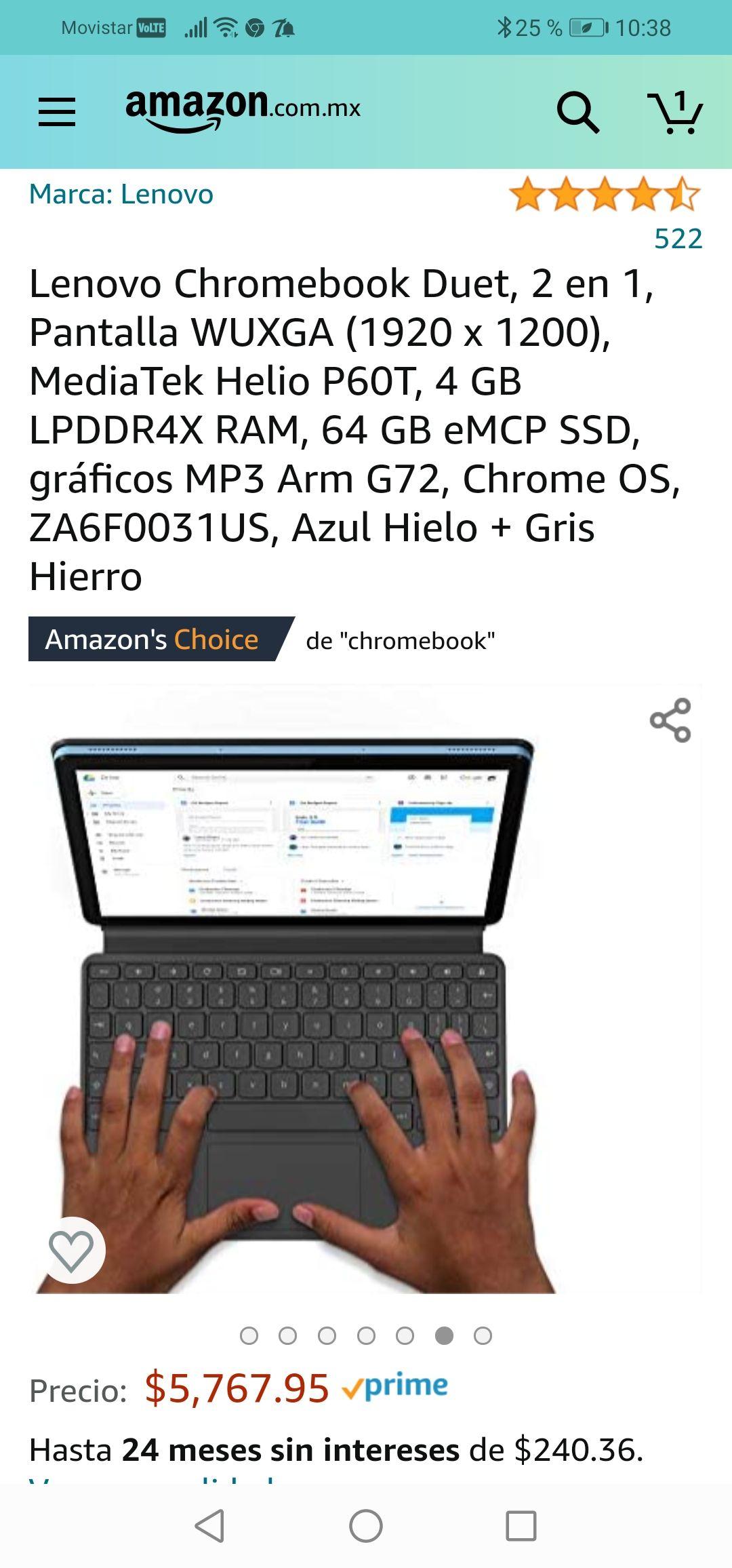 Amazon: Lenovo Chromebook Duet, 2 en 1, Pantalla WUXGA (1920 x 1200), MediaTek Helio P60T, 4 GB LPDDR4X RAM, 64 GB eMCP SSD, gráficos MP3
