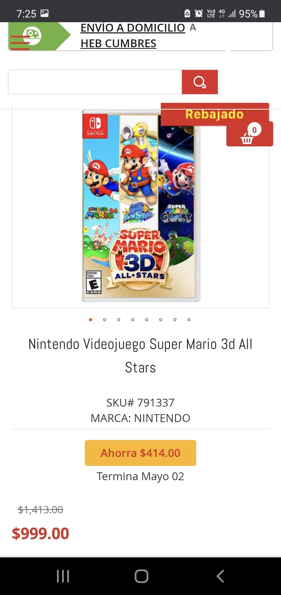 HEB Super Mario 3d All Stars $999 y Mario kart 8 deluxe $1099