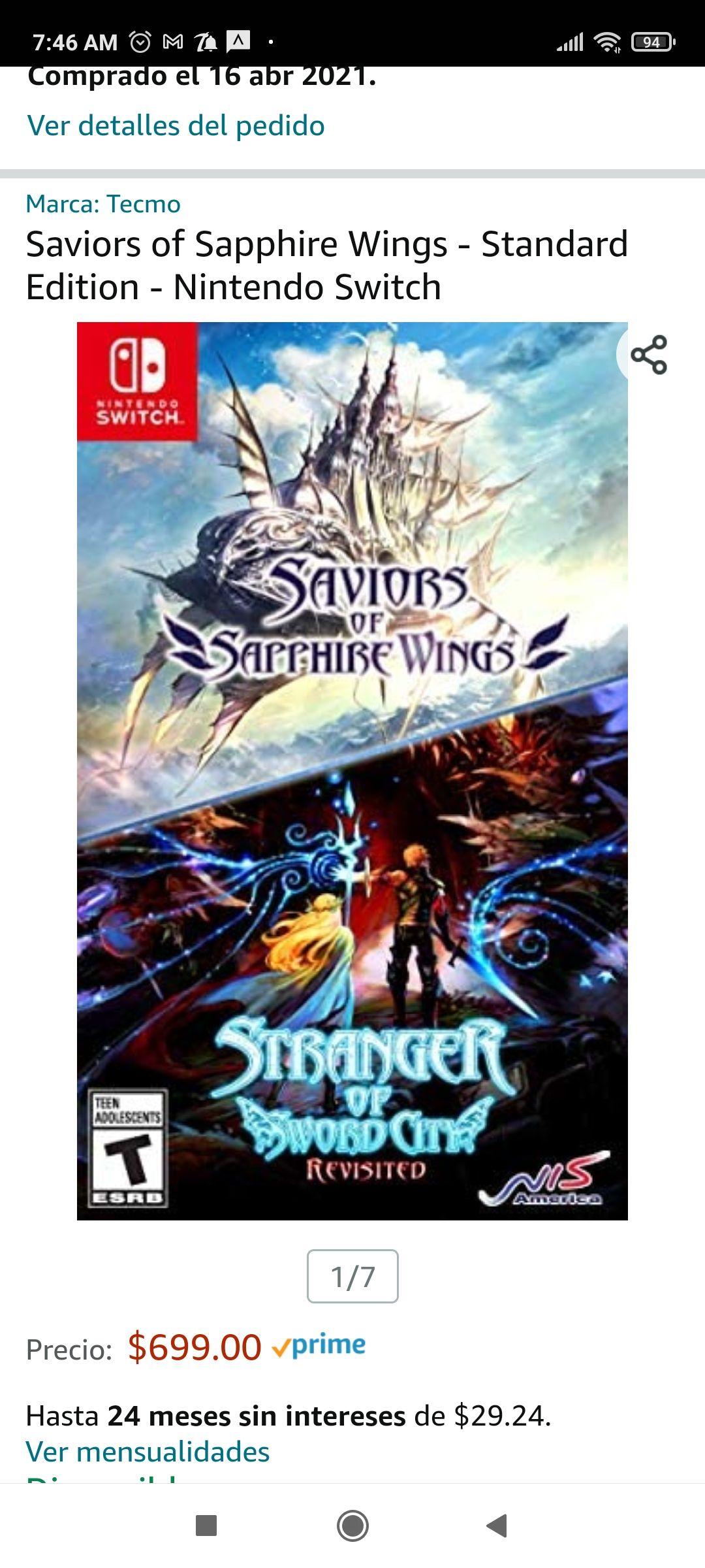 Amazon: Saviors of Sapphire Wings. Nintendo Switch