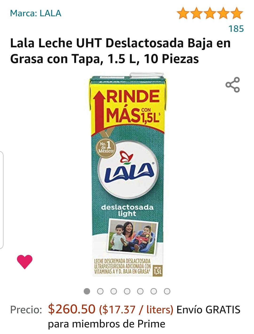 Amazon: Lala Leche UHT Deslactosada Baja en Grasa con Tapa, 1.5 L, 10 Piezas