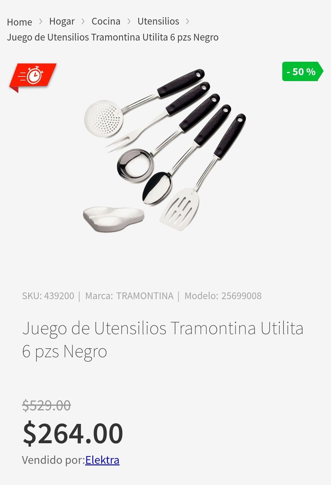 Elektra Juego de Utensilios Tramontina Utilita 6 pzs Negro