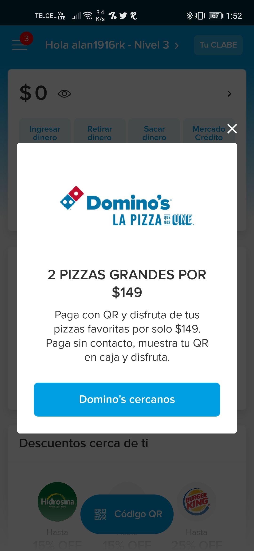 Domino's y MP: dos pizzas grandes por $149, pagando con código QR.