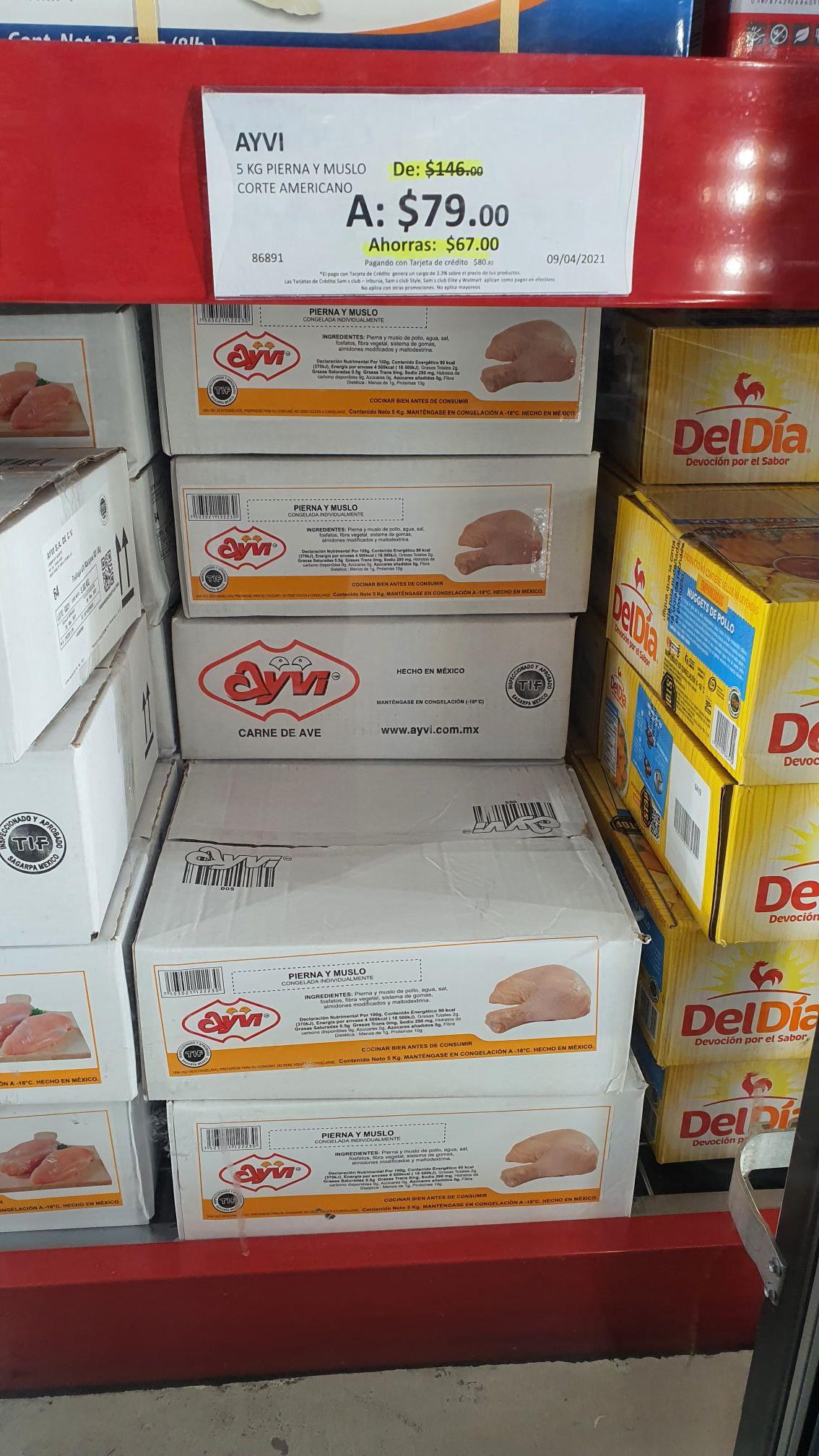 Sams club 5 kg de pierna y muslo congelado $79 y pollo popcorn $99 SUCURSAL TULANCINGO HIDALGO