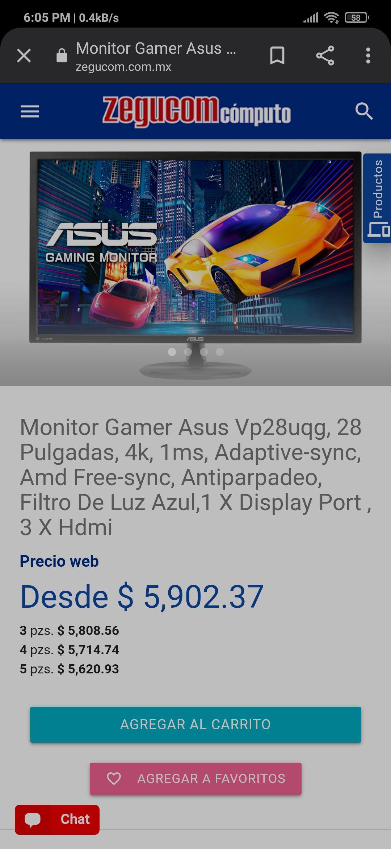 Zegucom: Monitor Gamer Asus Vp28uqg, 28 Pulgadas, 4k, 1ms.