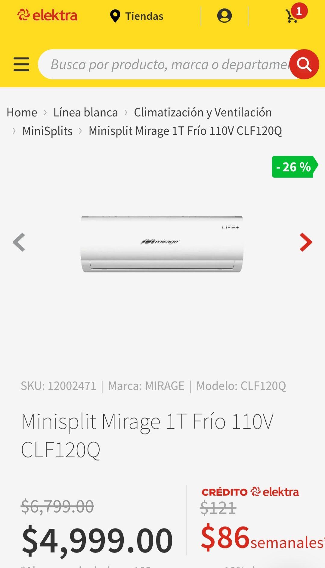 Elektra_ Minisplit Mirage 1Ton. 110v (Solo para recoger en tienda)