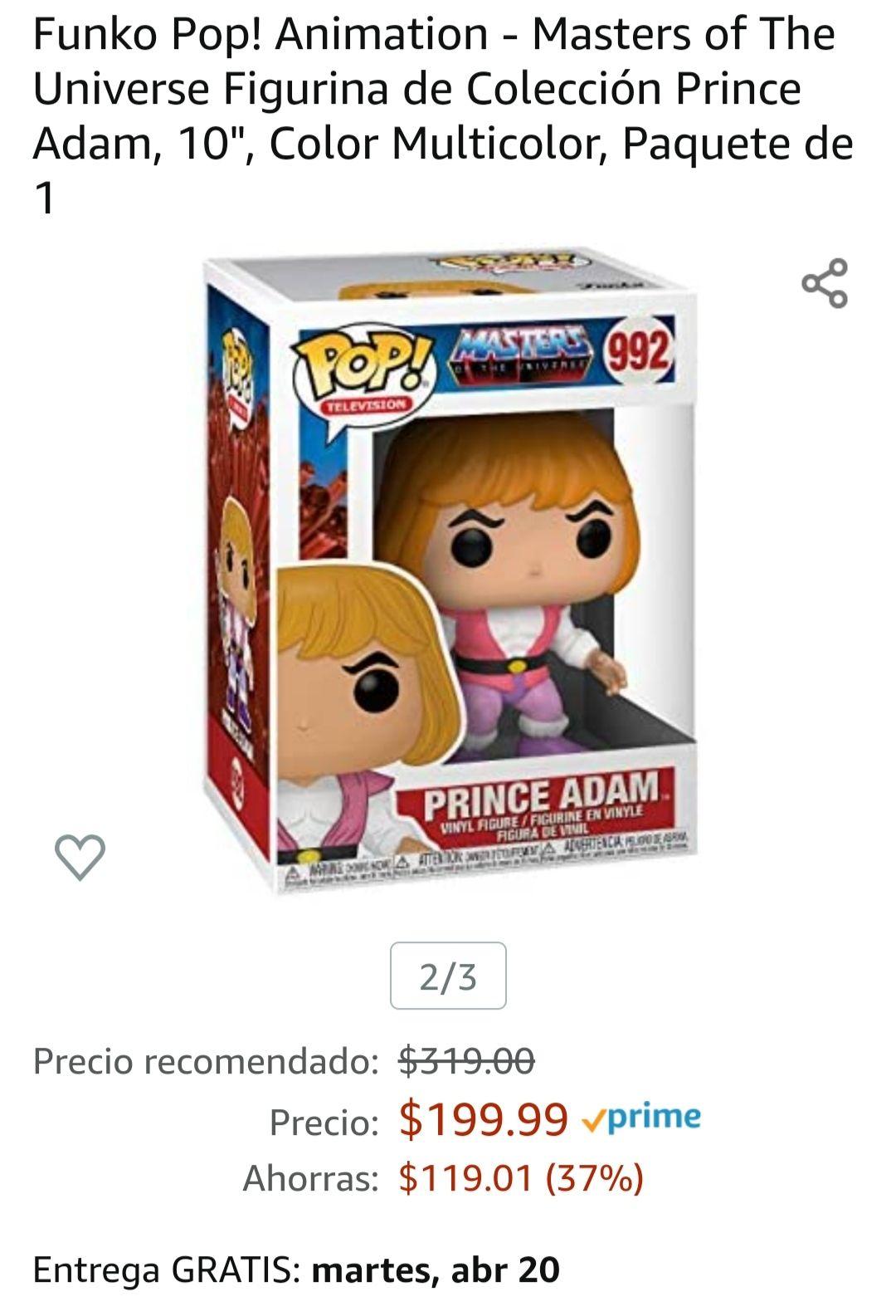 """Amazon: Funko Pop! Animation - Masters of The Universe Figurina de Colección Prince Adam, 10"""", Color Multicolor, Paquete de 1"""