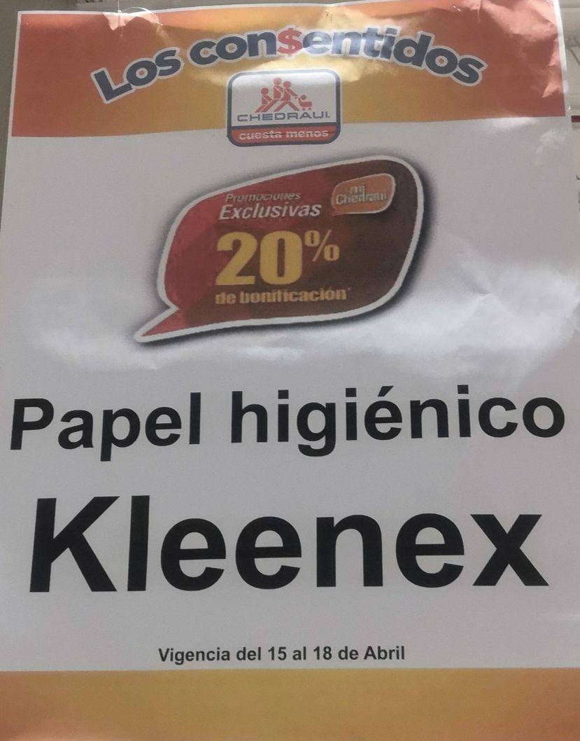 Chedraui: 20% de bonificación en papel higiénico Kleenex