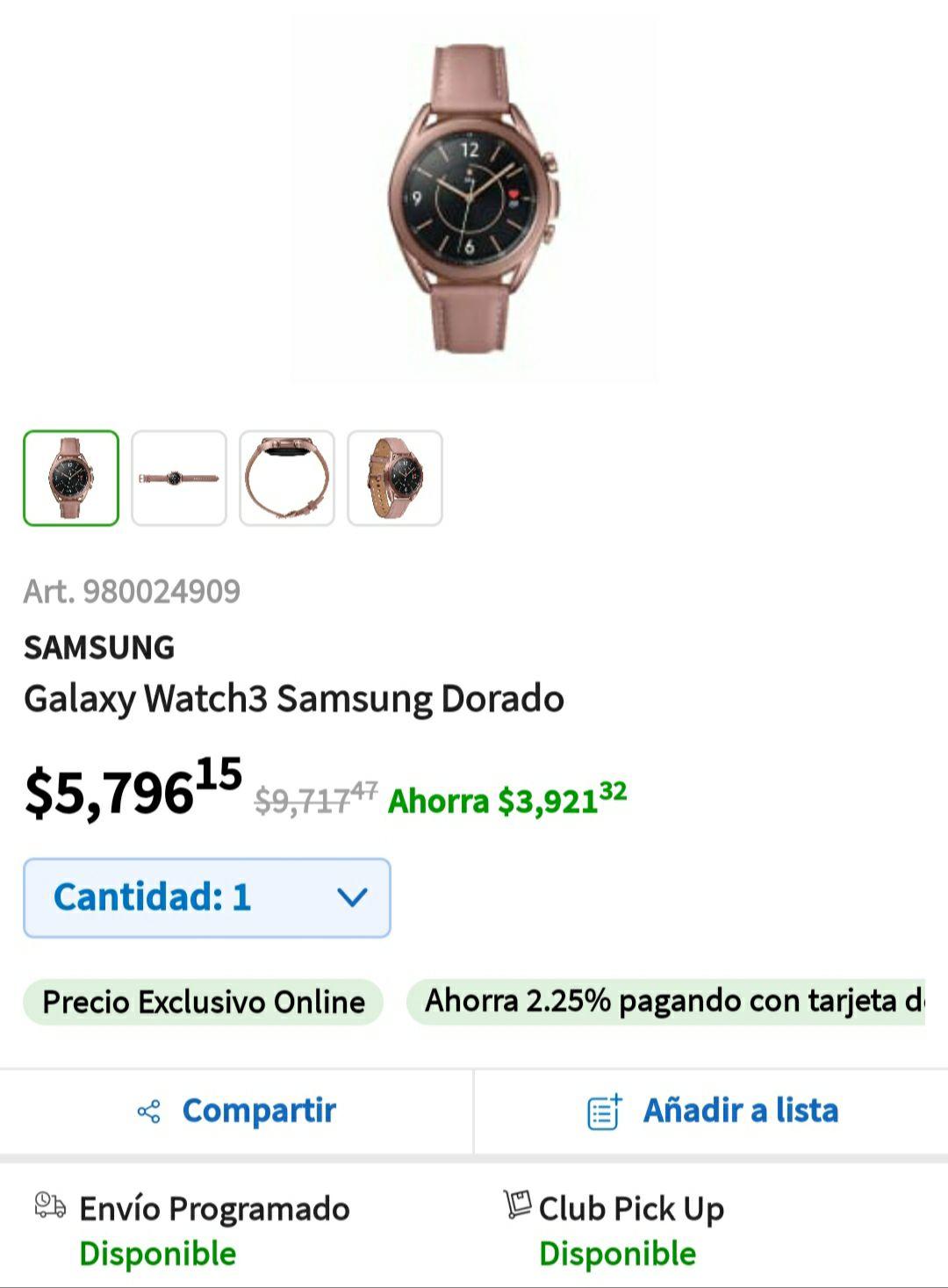 Samsung Galaxy Watch3 Dorado En Sam's Club