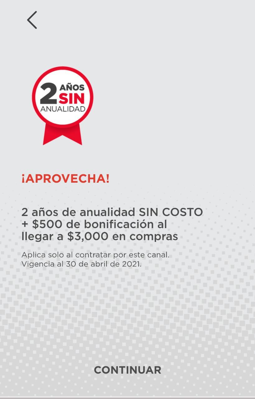 Banorte Móvil: 2 años de anualidad sin costo más $500 en bonificación al llegar a $3000 en compras