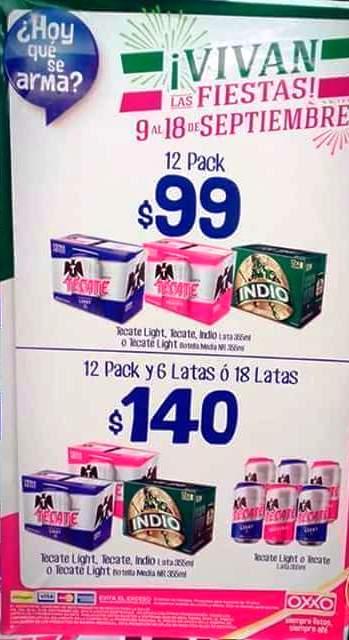 Oxxo: 18 cervezas en lata de Tecate o Indio por $140
