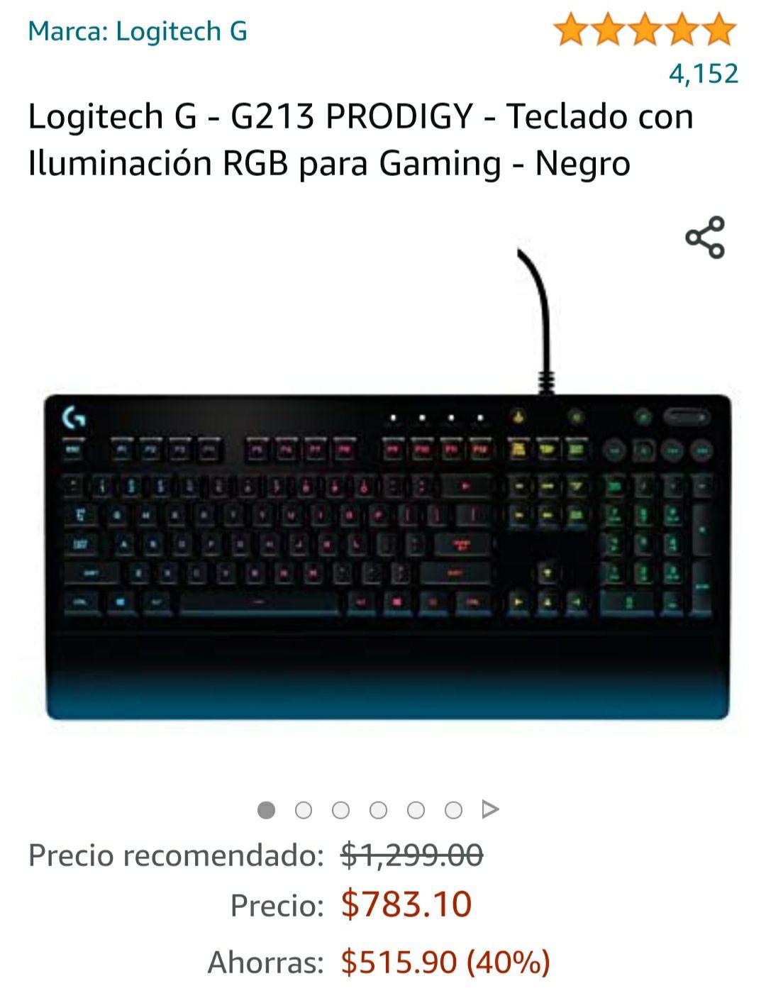 Amazon: Teclado logitech g213 Prodigy