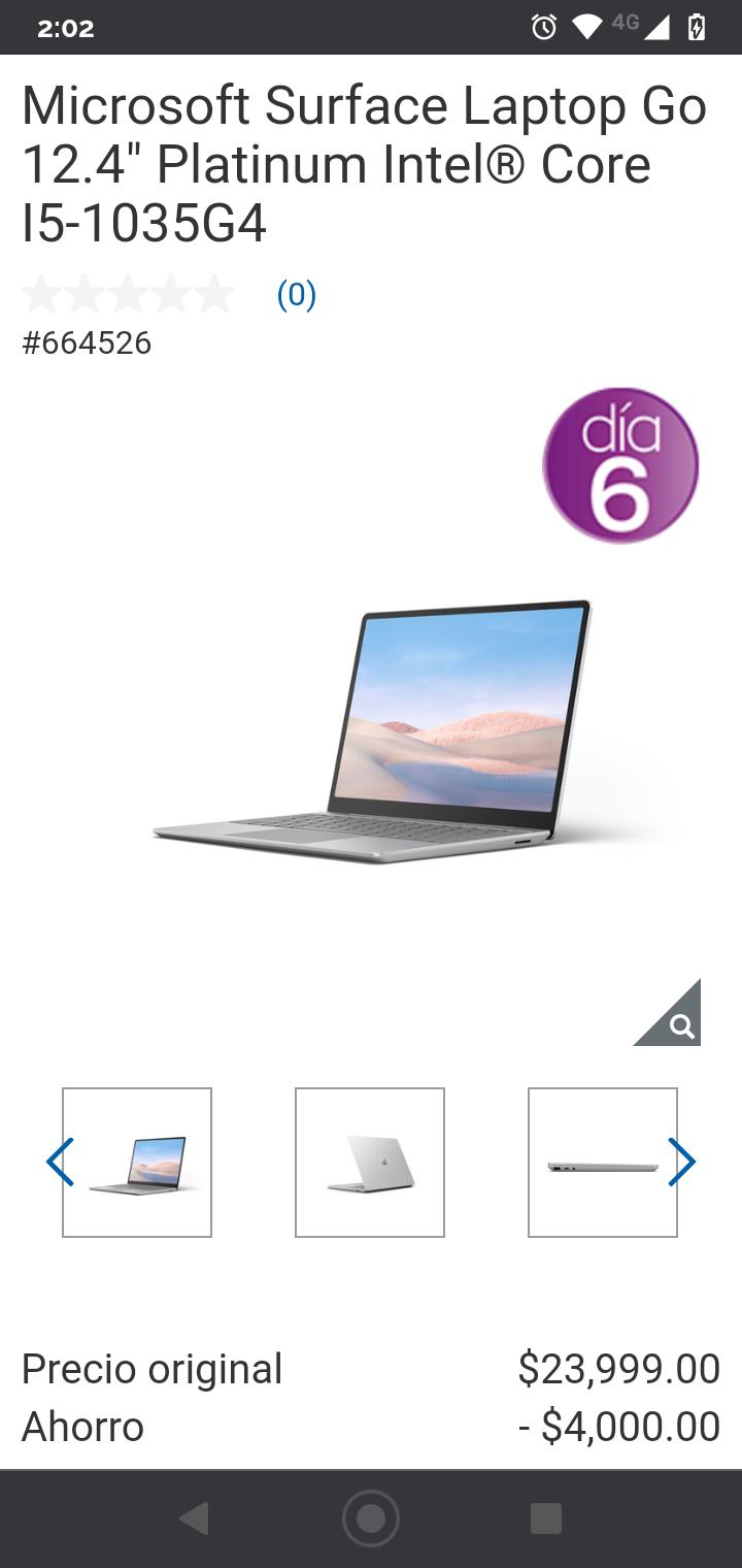 "Costco: Microsoft Surface Laptop Go 12.4"" Platinum Intel® Core I5-1035G4 8GB 256SSD"