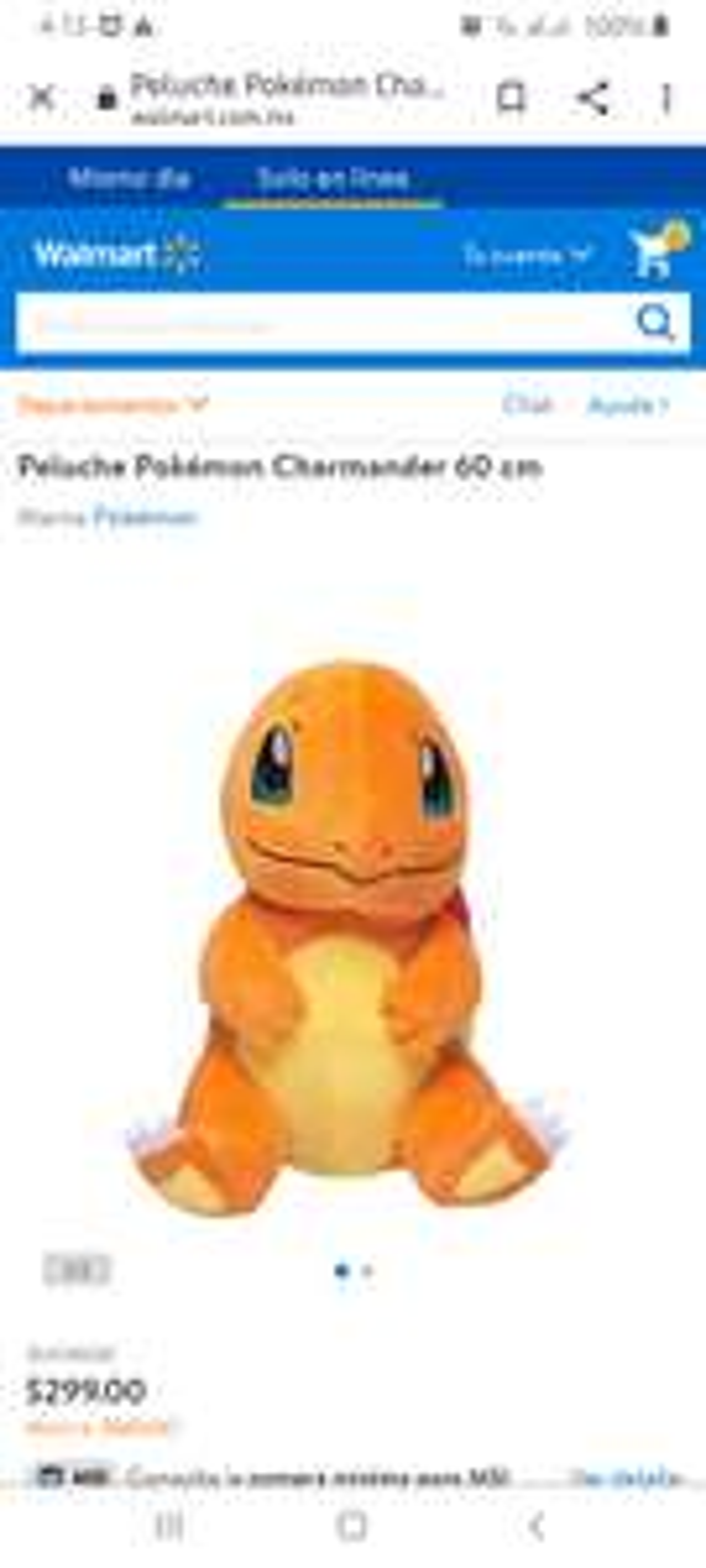 Walmart Peluche Pokémon Charmander 60 cm