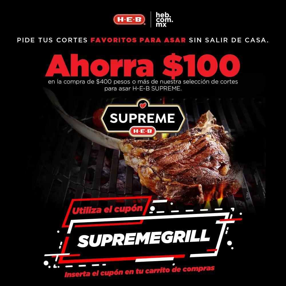 HEB en línea: Ahorra $100 pesos en la compra de $400 pesos o más en cortes para asar HEB SUPREME