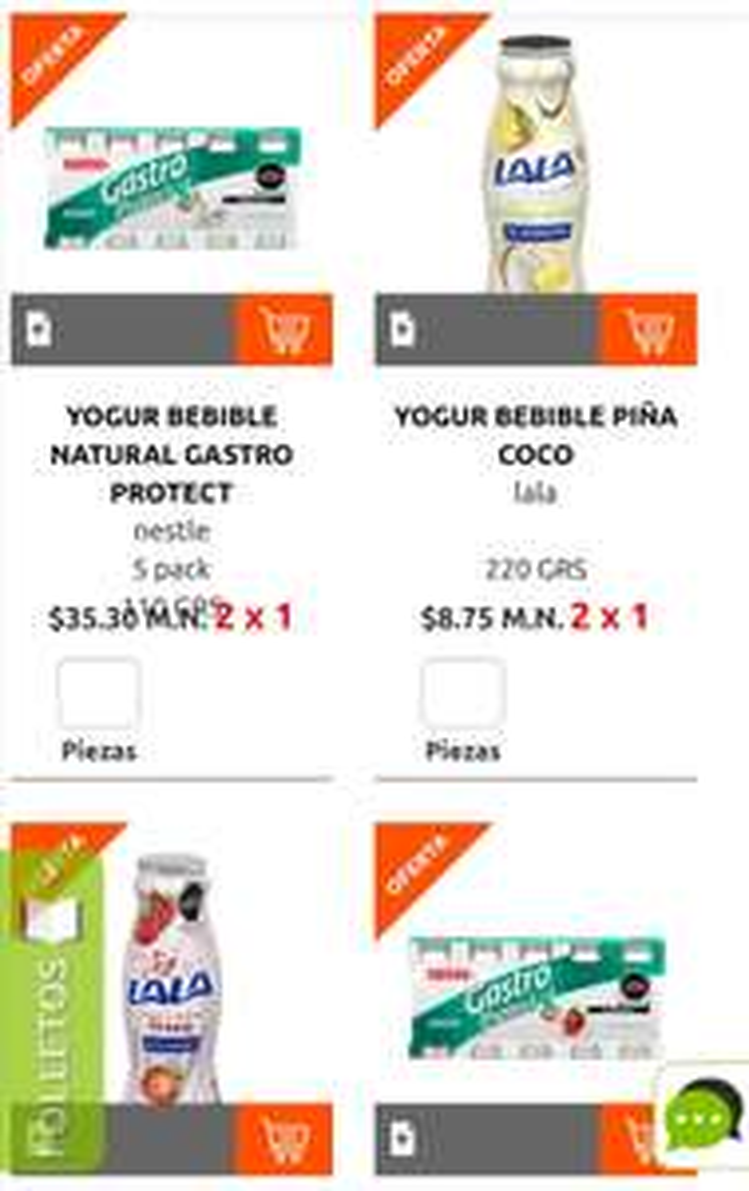 La Comer: 2 x 1 en yoghurt bebible Lala ó Nestlé