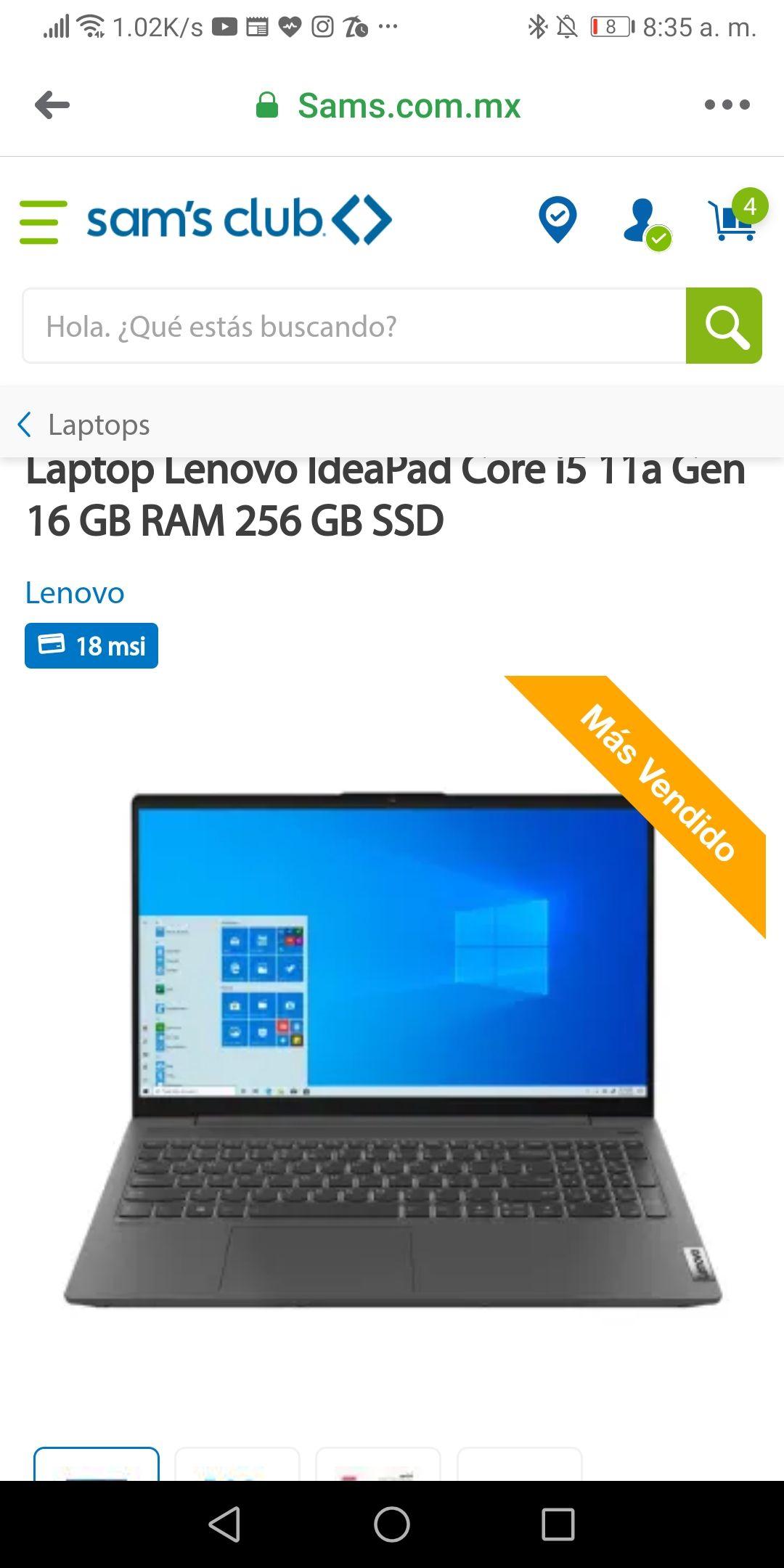 Sam's Club Lenovo ideapad i5 11va Gen geforce mx450