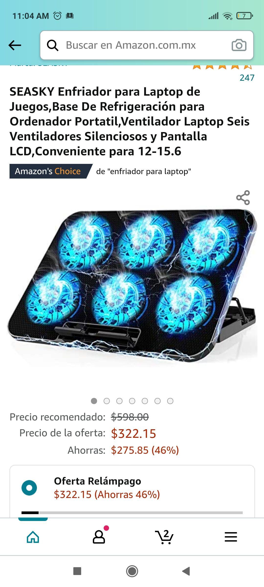 Amazon Enfriador para Laptop de Juegos,Base De Refrigeración para Ordenador Portatil,Ventilador Laptop Seis Ventiladores Silenciosos