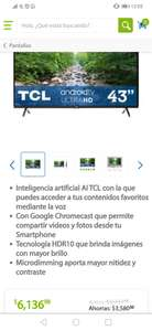 Sam's Club, Pantalla TCL 43 Pulgadas LED 4K Android TV