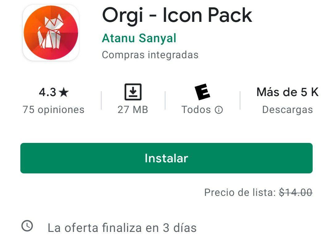 Google Play, Orgi: Paquete de iconos y wallpapers