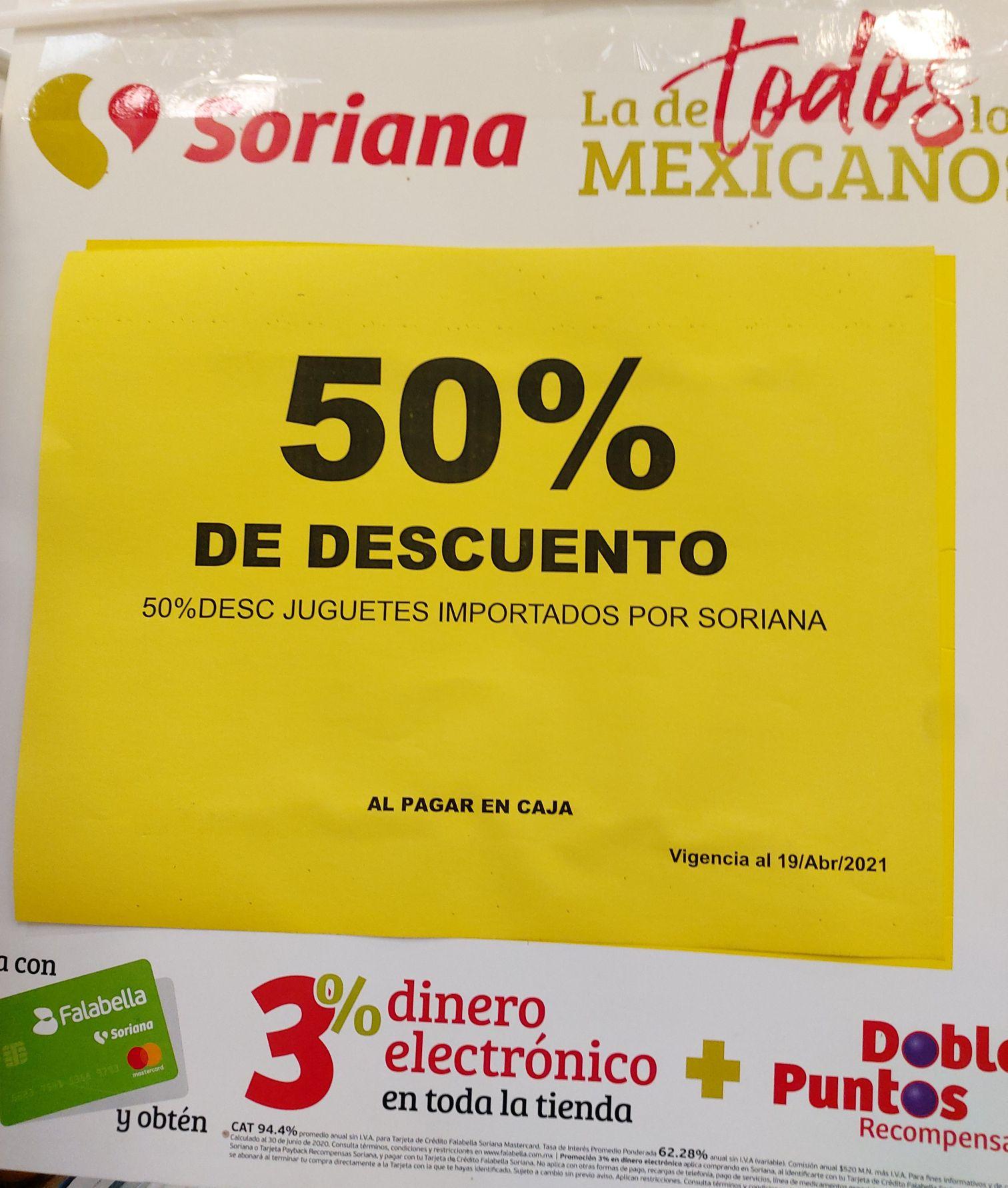 SORIANA HIPER: 50% EN JUGUETES IMPORTADOS