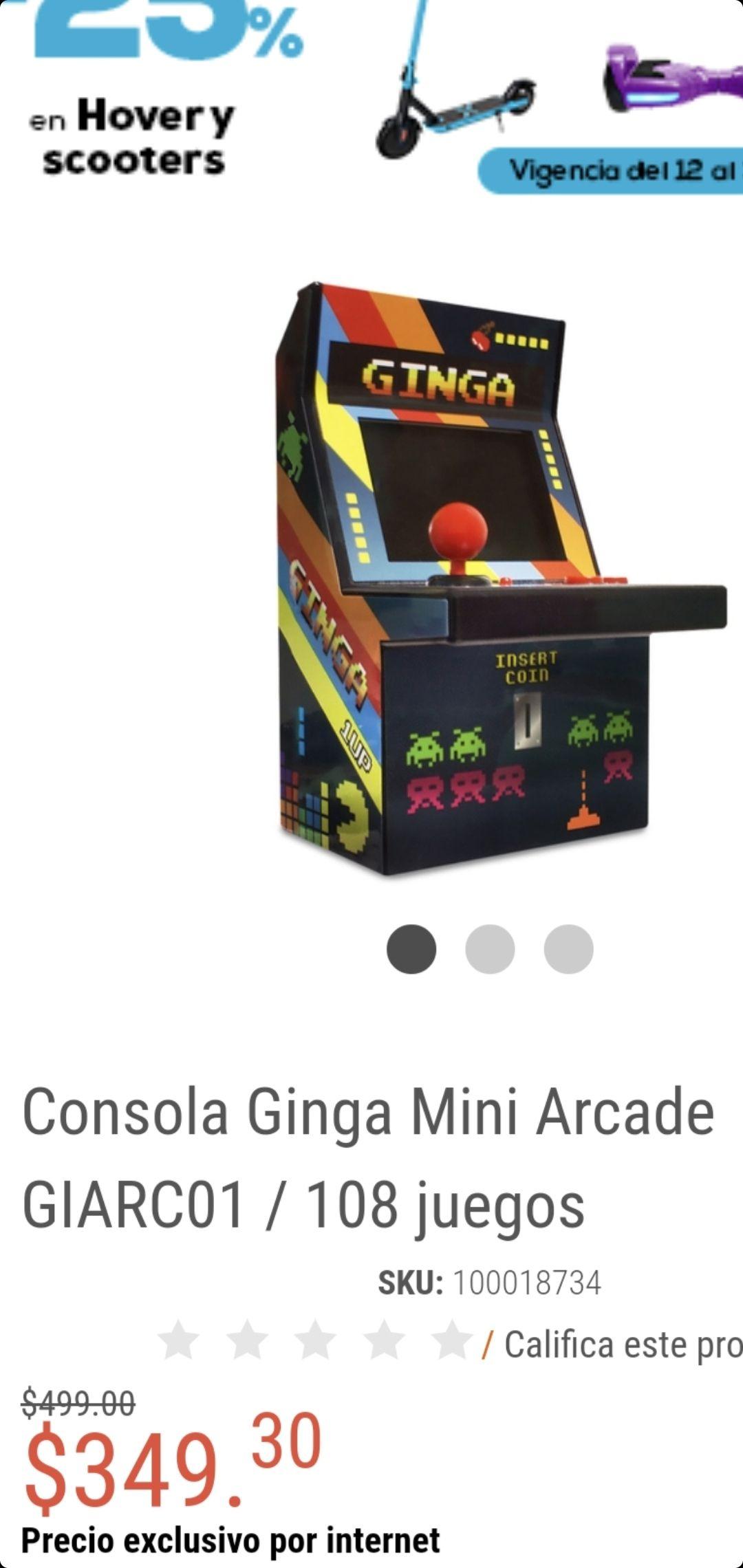 Radioshack Consola Ginga Mini arcade 108 juegos y pacman un clásico en descripcion