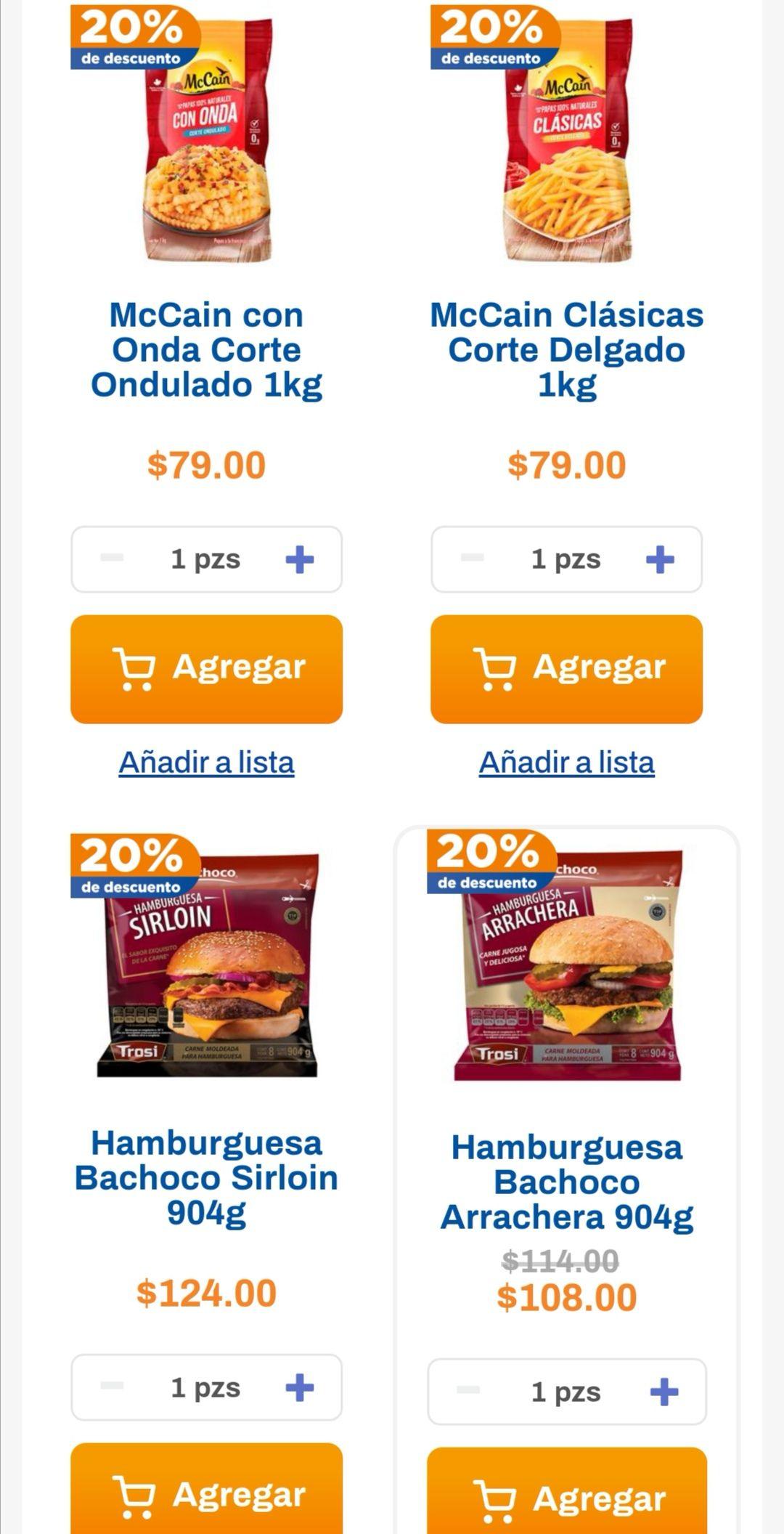 Chedraui: 20% de descuento en la compra de 1 paquete de Hamburguesa Bachoco + 1 Bolsa de Papas McCain 1 kg.