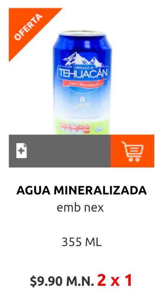 La Comer: 2 x 1 en agua mineralizada Orgullo de Tehuacán lata 355 ml (2 x $9.90)