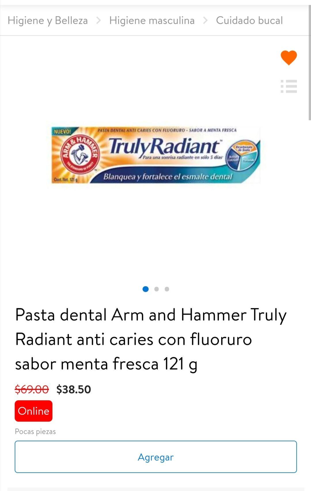 Walmart: Pasta dental Arm and Hammer Truly Radiant sabor menta fresca 121 g