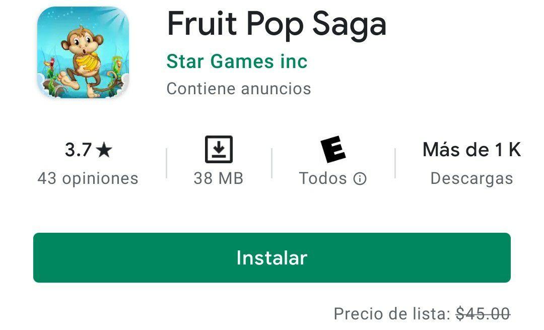 Google Play: Fruit Pop Saga