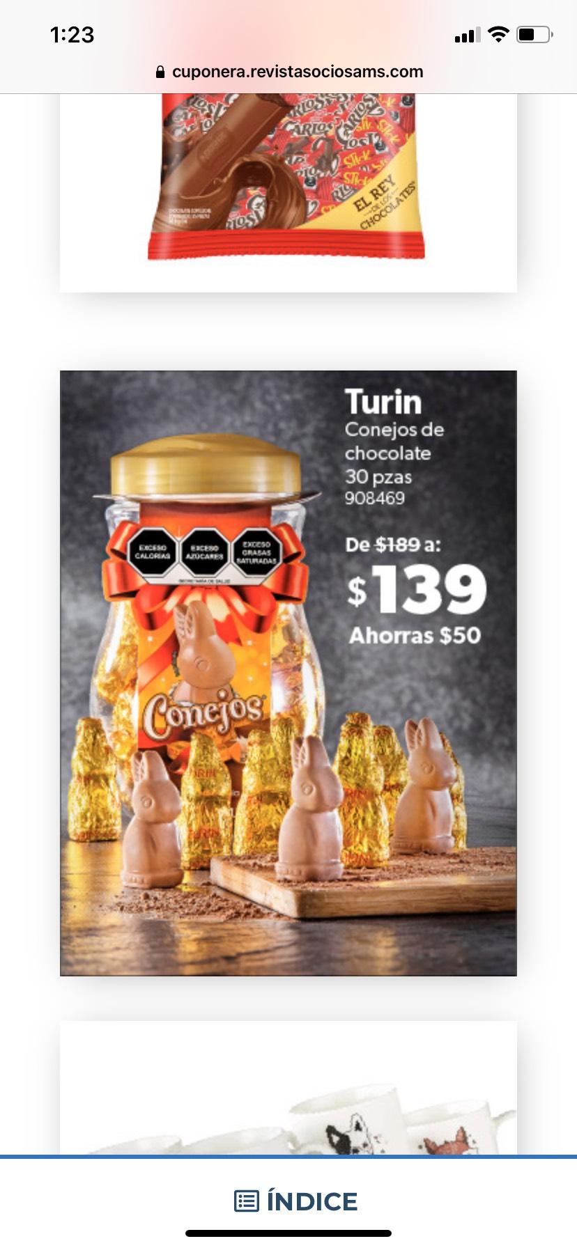 Sam's Club: Chocolates Conejo Turín de 30 piezas ($4.63 c/u)