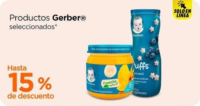 Chedraui: 15% desc. en papillas y pouch Gerber, 10% desc. en bebidas Gerber y 10% desc. en cereales, galletas y snacks Gerber