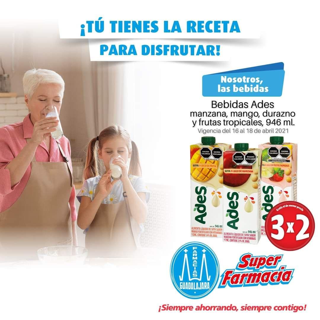 Farmacias Guadalajara: 3 x 2 en bebidas Ades 946 ml y más ofertas de fin de semana