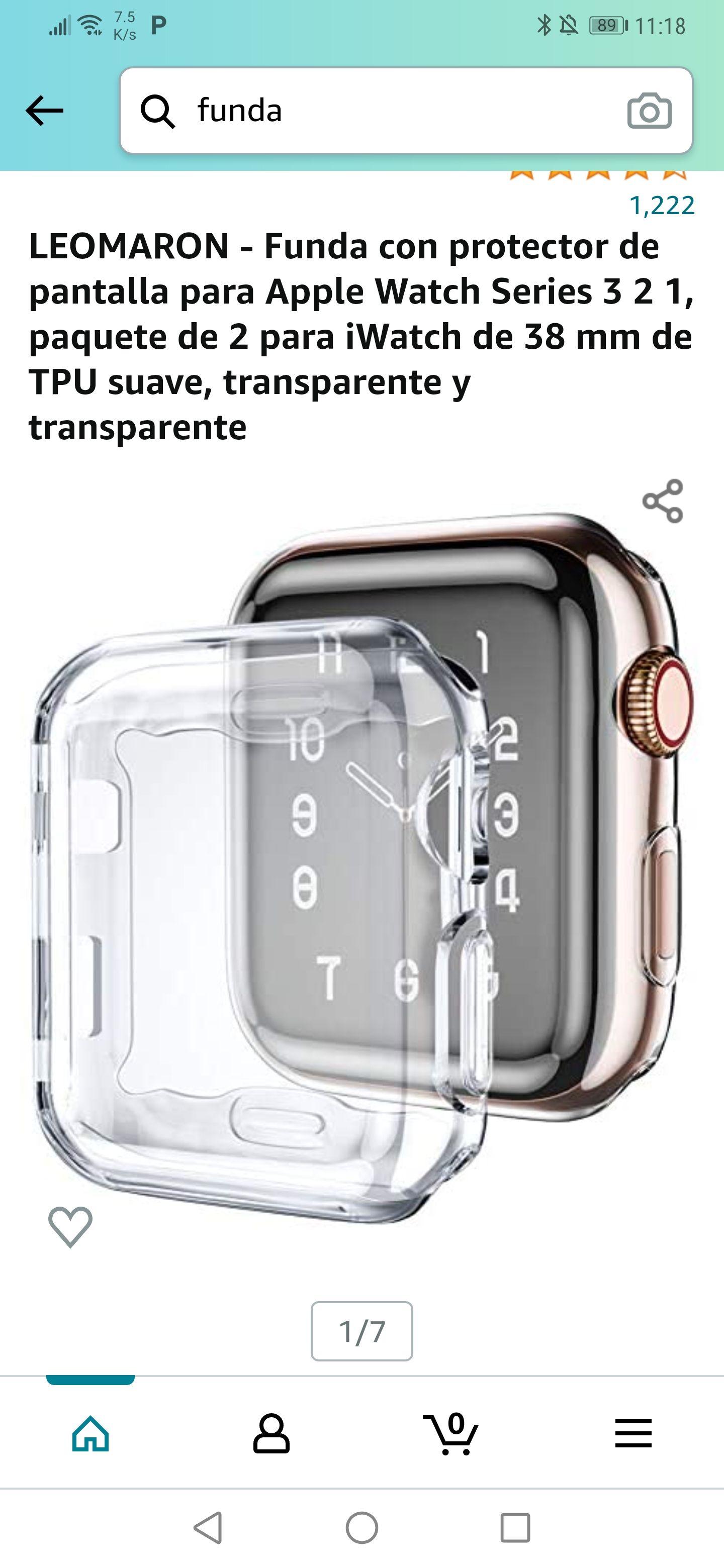 Amazon: Paquete de 2 fundas con protector de pantalla para apple watch series 1,2 y 3 . 38mm