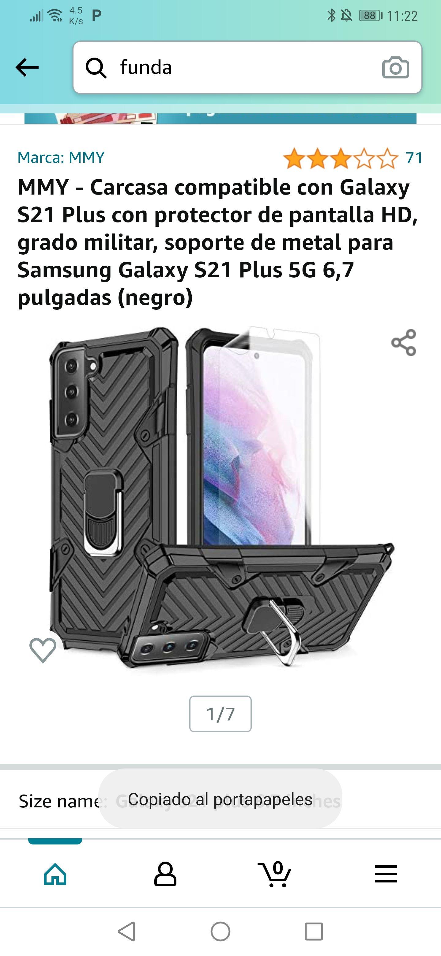 Amazon: Funda con protector de pantalla para Galaxy S21 plus