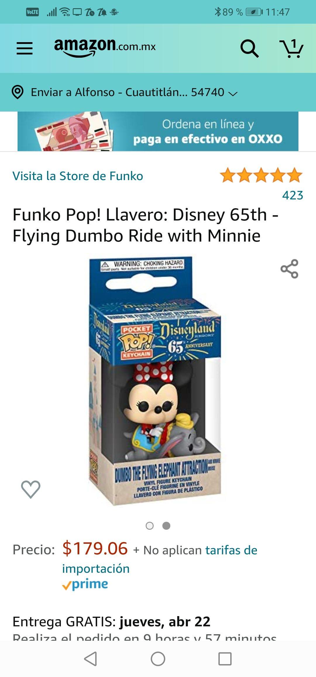 Amazon: Funko Pop! Llavero: Disney 65th - Flying Dumbo