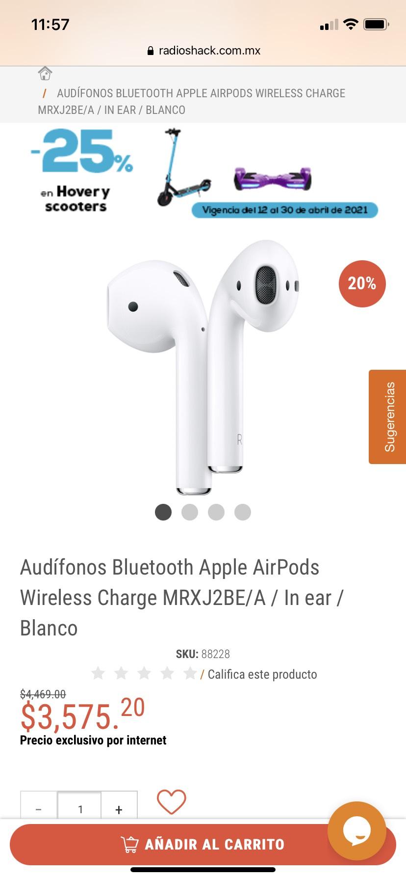 RadioShack: Apple AirPods 2da Generación (estuche con carga inalámbrica) Hasta 18MSI con Citibanamex